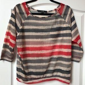 F21 sheer striped top w/ 3/4 sleeves